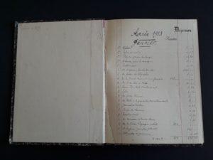 Première page du carnet de comptes