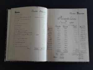 Page du carnet de comptes