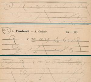 Montage de trois extraites de notes sténo similaires