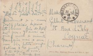 Carte postale de Max à Gilberte datée du 23 décembre 1918 (versoo)
